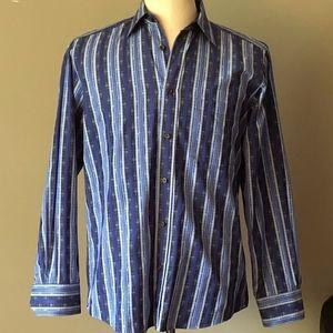 BUGATCHI UOMO Dress Shirt, Blue/Gray Striped Shirt